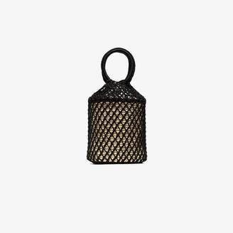 Sensi Studio Black straw and net bucket bag