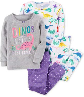 Carter's 4-Pc. Dino-Print Cotton Pajamas, Baby Girls