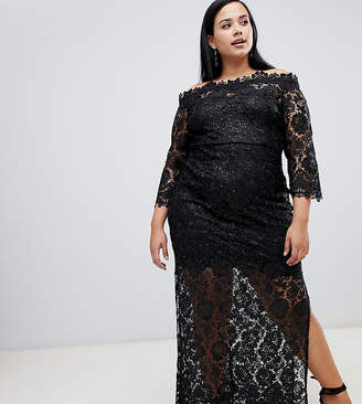 9dbbb482e5199 Paper Dolls Plus sequin lace bardot maxi dress with side splits in black
