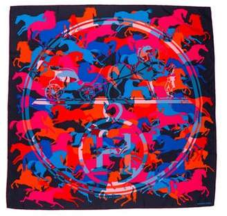 Hermes Ex Libris En Camouflage Silk Scarf