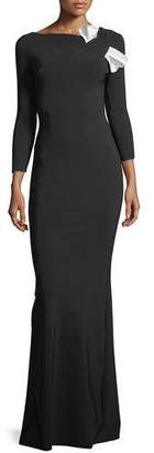 Chiara Boni Sondra Asymmetric-Neck Long-Sleeve Bow Gown