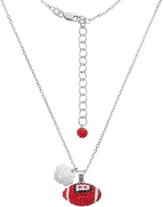 Texas Tech Red Raiders Sterling Silver Team Logo & Crystal Football Pendant Necklace