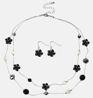 Avenue Black Floral Beaded Necklace and Earring Set