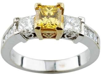 18K White & Yellow Gold 0.74ct Yellow Diamond Engagement Ring Size 6.5