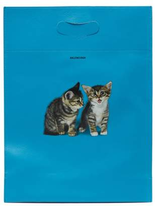 Balenciaga Kitten Print Leather Tote Bag - Womens - Blue Multi