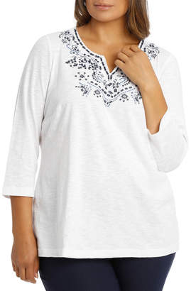 Embroidered Cotton 3/4 Sleeve Tunic