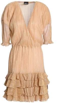 Just Cavalli Metallic Ruffled Striped Mini Dress