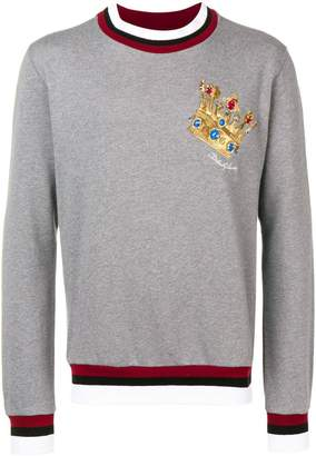 Dolce & Gabbana Crown logo patch sweater