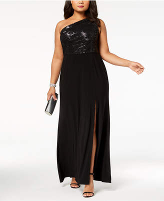 Adrianna Papell Plus Size Sequined One-Shoulder Gown