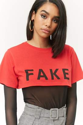 Forever 21 Fake Graphic Cropped Tee