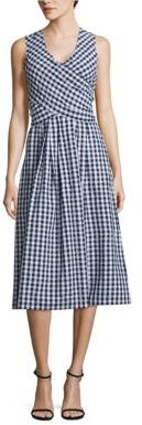 IMNYC Isaac Mizrahi Gingham Mock-Wrap Dress $129 thestylecure.com