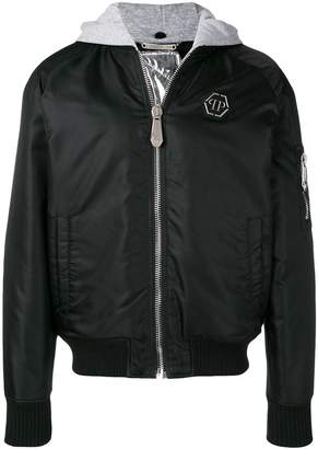 Philipp Plein removable hood bomber jacket