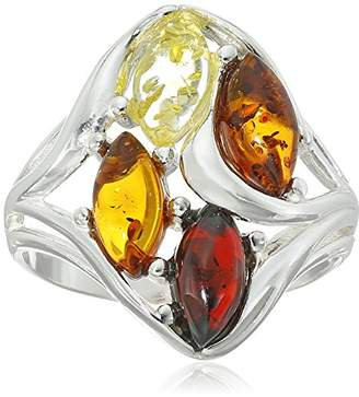 Sterling Silver Multi-Color Amber Ring