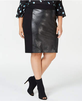 INC International Concepts I.n.c. Plus Size Faux-Leather Front Pencil Skirt, Created for Macy's