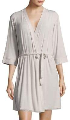 Solid Scalloped Lace-Trim Robe