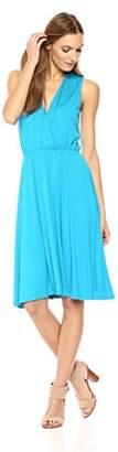 Wild Meadow Women's Sleeveless Wrap Bodice Tea Length Dress XS