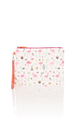 Girls On Film Outlet Palm Tree Flamingo Clutch