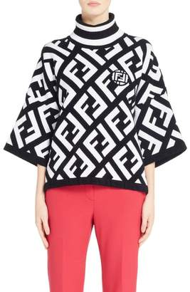 Fendi Logo Knit Poncho