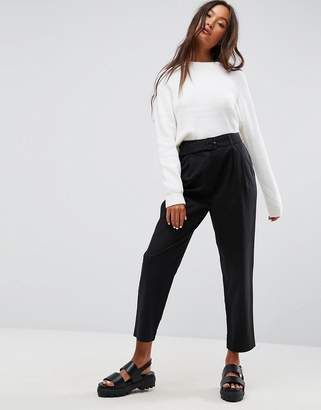 Asos Design Tapered High Waist Chino Pants with Belt