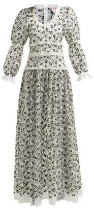 Shrimps Floral Cotton Blend Chantilly Lace Dress - Womens - Black Multi