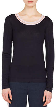 Akris Striped-Trim Round-Neck Long-Sleeve Cashmere-Silk Top
