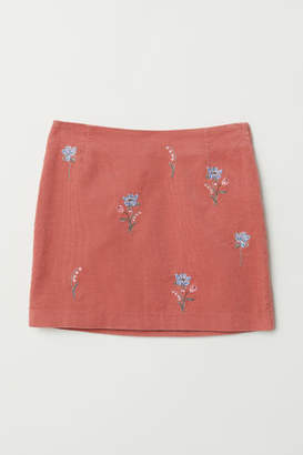 H&M Embroidered Corduroy Skirt - Pink