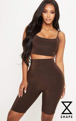 PrettyLittleThing Shape Chocolate Brown Slinky Cycling Shorts