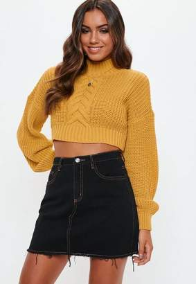 Missguided Mustard Balloon Sleeve Cable Knit Cropped Sweater