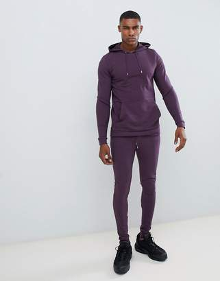 Asos DESIGN tracksuit muscle hoodie/extreme super skinny joggers in dark purple