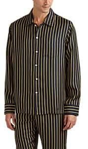 Sleepy Jones Men's Henry Striped Silk Pajama Top - Navy
