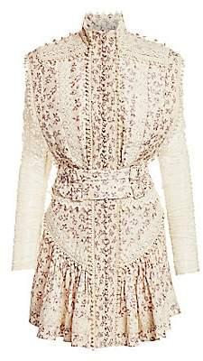 Zimmermann Women's Eye Spy Floral Twill & Lace Mini Dress