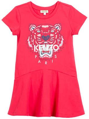 Kenzo Short-Sleeve Tiger Logo Dress, Size 8-12