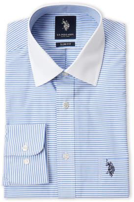 U.S. Polo Assn. Blue Stripe Slim Fit Dress Shirt