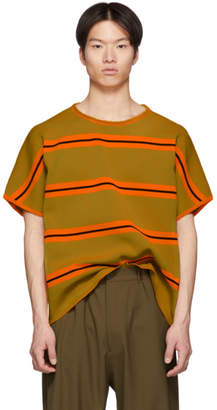 Maison Margiela Orange and Green Striped Knit T-Shirt