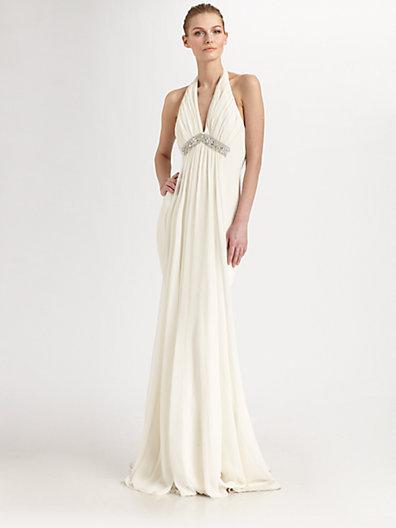 Notte by Marchesa Silk Halter Gown