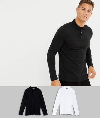 Asos DESIGN long sleeve jersey polo 2 pack SAVE