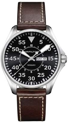 Hamilton Khaki Aviation Pilot Leather Strap Watch, 42mm
