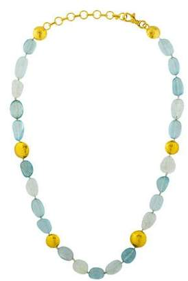 Gurhan 24K Aquamarine Bead Necklace