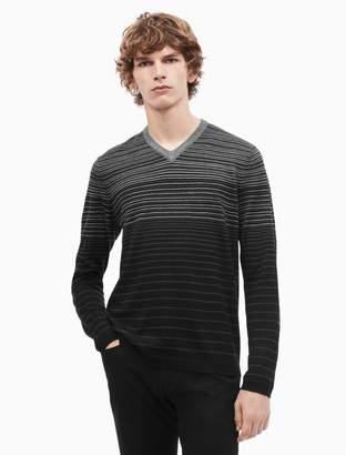 Calvin Klein merino wool blend striped v-neck sweater