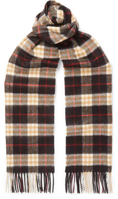 Burberry Fringed Checked Cashmere Scarf - Black