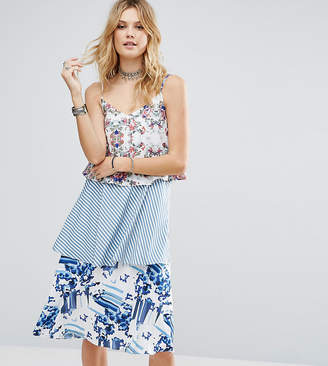 White Cove Tall Allover Printed Layered Cami Strap Swing Dress