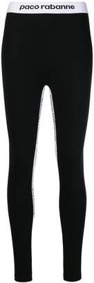 Paco Rabanne logo strap sport leggings