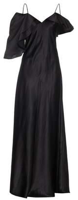 Saint Laurent Ruffle Trimmed Silk Satin Gown - Womens - Black