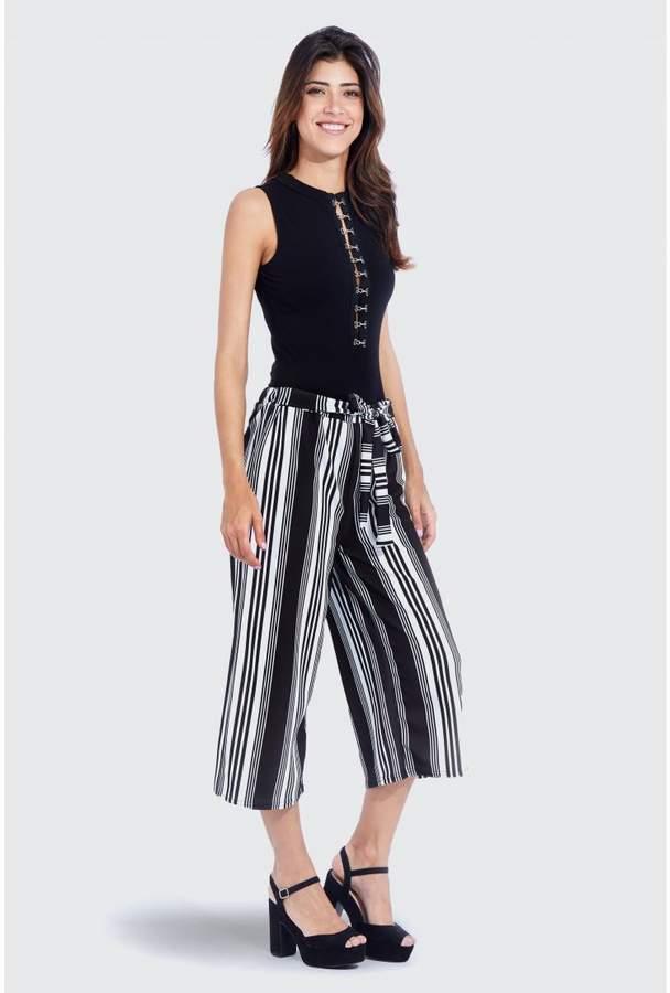 Stripe Culotte Black Trousers
