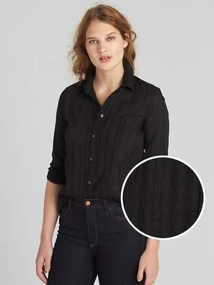 Gap Fitted Boyfriend Texture Stripe Shirt