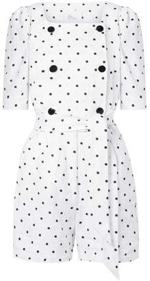 Lisa Marie Fernandez Diana Double-breasted Embroidered Polka-dot Linen Playsuit - White