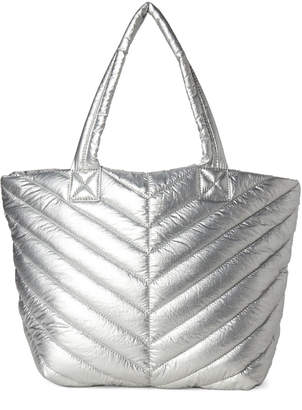 Urban Expressions Silver Kickoff Quilted Nylon Tote