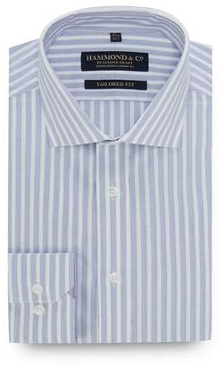 Hammond & Co. by Patrick Grant - Big And Tall Light Blue Striped Long Sleeve Tailored Fit Shirt