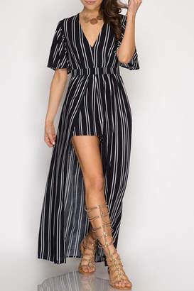 Dress Forum Elyse Striped-Maxi Romper