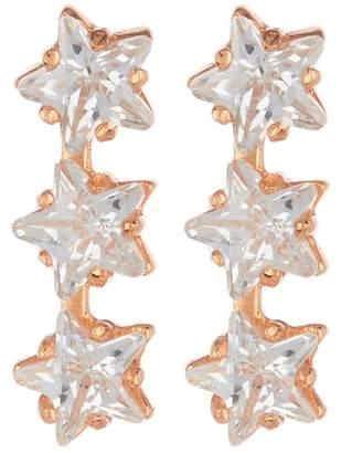 Argentovivo 18K Rose Gold Plated Sterling Silver Triple Star CZ Stud Earrings